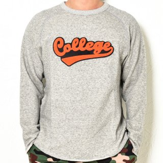 MR.HUGE  COLLEGE LOGO WAPPEN CUT OFF SWEAT PULLOVER (カレッジ ロゴ ワッペン カット オフ スエット プルオーバー )グレー