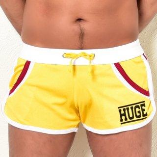 huge HUGE LOGO PIPING SIDE CUT  SHORT PANTS(HUGE ロゴ パイピング サイドカット ショートパンツ)イエロー