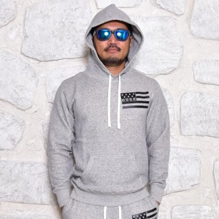 MR.HUGE AMERICAN FLAG PRINTED SWEAT PARKA(星条旗 プリント スエット パーカー )グレー