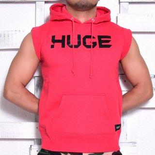 MR.HUGE LOGO CUT OFF  HARF SLEEVE SWEAT(ロゴ カットオフ ハーフ スリーブ スエット)レッド