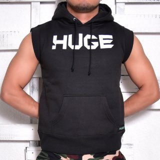 MR.HUGE LOGO CUT OFF  HARF SLEEVE SWEAT(ロゴ カットオフ ハーフ スリーブ スエット)ブラック
