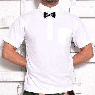 MR.HUGE BOWTIE WAPPEN DRY HARF PORO SHIRTS(蝶ネクタイ ワッペン コットン ハーフシャツ )ホワイト