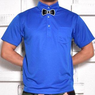 MR.HUGE BOWTIE WAPPEN DRY HARF PORO SHIRTS(蝶ネクタイ ワッペン コットン ハーフシャツ )ブルー