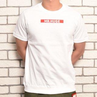 MR.HUGE BOX ROGO SIDE SWITCH T-SHIRTS(ボックスロゴ サイド 切り替え Tシャツ )ホワイト