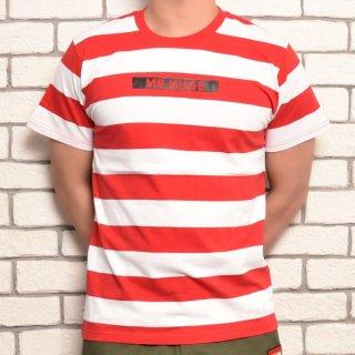 MR.HUGE BOX ROGO WIDE BORDER T-SHIRTS(ボックスロゴ 太ボーダー Tシャツ )ホワイト×レッド