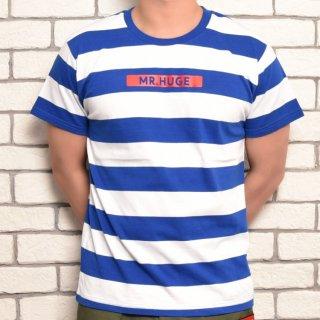 MR.HUGE BOX ROGO WIDE BORDER T-SHIRTS(ボックスロゴ 太ボーダー Tシャツ )ホワイト×ブルー
