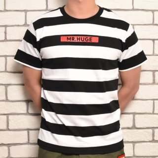 MR.HUGE BOX ROGO WIDE BORDER T-SHIRTS(ボックスロゴ 太ボーダー Tシャツ )ホワイト×ブラック