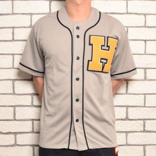MR.HUGE H WAPPEN BASEBALL SHIRTS(Hワッペン ベースボールシャツ )グレー