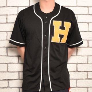MR.HUGE H WAPPEN BASEBALL SHIRTS(Hワッペン ベースボールシャツ )ブラック