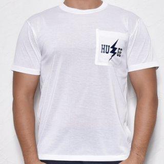 MR.HUGE RUBBER BORDERING POCKET INAZUMA PRINTED T-SHIRTS(ラバー縁取りポケット 稲妻プリント Tシャツ)ホワイト