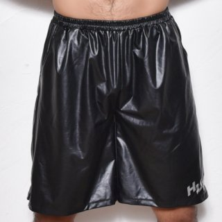 huge SIDE ZIPPER ROGO PRINTED HARF PANTS(サイド ジッパー ロゴ プリント パンツ)ブラック×シルバー
