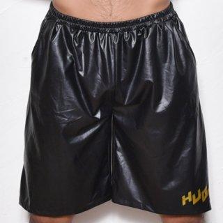huge SIDE ZIPPER ROGO PRINTED HARF PANTS(サイド ジッパー ロゴ プリント パンツ)ブラック×ゴールド