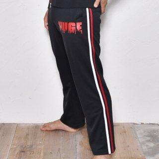 MR.HUGE SIDE LINE  FIRE LOGO JERSEY LONG PANTS(サイド ライン ファイアーロゴ ジャージ ロングパンツ)ブラック×レッド