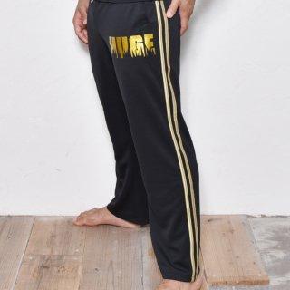 MR.HUGE SIDE LINE  FIRE LOGO JERSEY LONG PANTS(サイド ライン ファイアーロゴ ジャージ ロングパンツ)ブラック×ゴールド