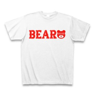 MR.HUGE BEAR ROGO PRINTED Tシャツ ホワイト×レッド