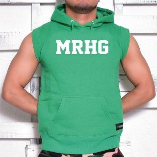 MR.HUGE MRHG LOGO CUT OFF  HARF SLEEVE SWEAT(ロゴ カットオフ ハーフ スリーブ スエット)グリーン