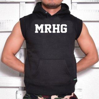 MR.HUGE MRHG LOGO CUT OFF  HARF SLEEVE SWEAT(ロゴ カットオフ ハーフ スリーブ スエット)ブラック