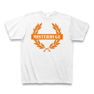 MR.HUGE EMBLEM LOGO PRINTED Tシャツ ホワイト×オレンジ