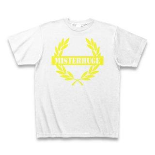 MR.HUGE EMBLEM LOGO PRINTED Tシャツ ホワイト×イエロー