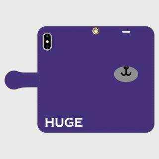 MR.HUGE BEAR NORSE(ベアーノーズ)PRINTED  手帳型 iPhoneCASE ネイビー