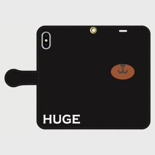 MR.HUGE BEAR NORSE(ベアーノーズ)PRINTED  手帳型 iPhoneCASE ブラック