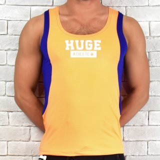 huge ATHLETE PRINTED CONVERSION STRETCH TANKTOP(アスリート プリント 切り替え ストレッチ タンクトップ)オレンジ