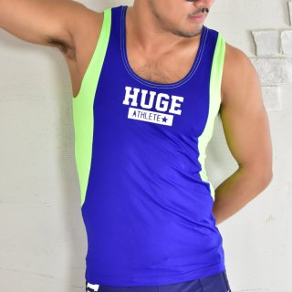 huge ATHLETE PRINTED CONVERSION STRETCH TANKTOP(アスリート プリント 切り替え ストレッチ タンクトップ)ブルー