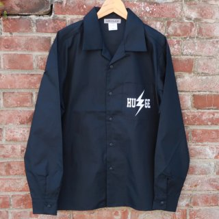 MR.HUGE INAZUMA PRINTED OPEN COLLAR LONG SHIRTS(イナズマ プリント オープン カラーロングシャツ )ネイビー