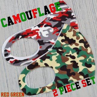 【即納】SELECT camouflage seamless MASK 2pieceSET(カモフラージュ シームレス マスク 2色セット)レッド&グリーン