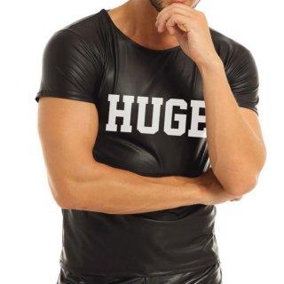 huge LOGO FAKE LEATHER CUTSEW(ロゴ フェイクレザー カットソー)ブラック