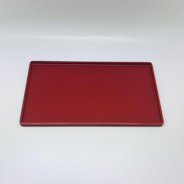 隅丸長角盆 小 赤