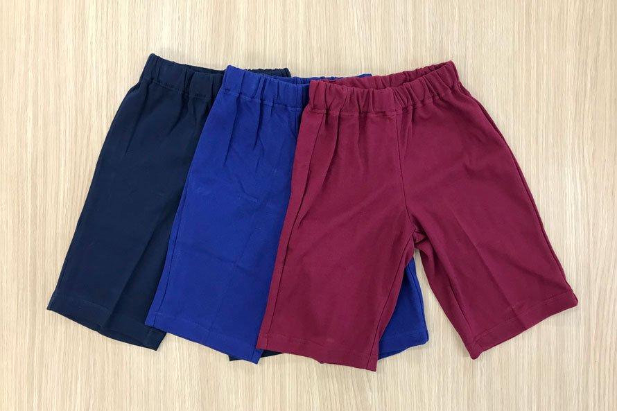 敏感肌向け 日本製 綿100% 体操服 ズボン パンツ ハーフ丈(濃紺/エンジ/花紺)[素材]綿100%||