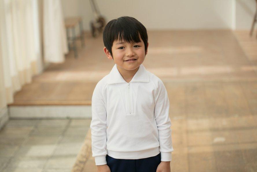 綿100%・日本製(ジップ付長袖シャツ)