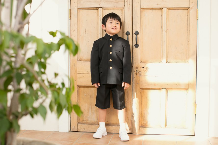 「折襟型」通学服【男の子用/黒色(ブラック)】