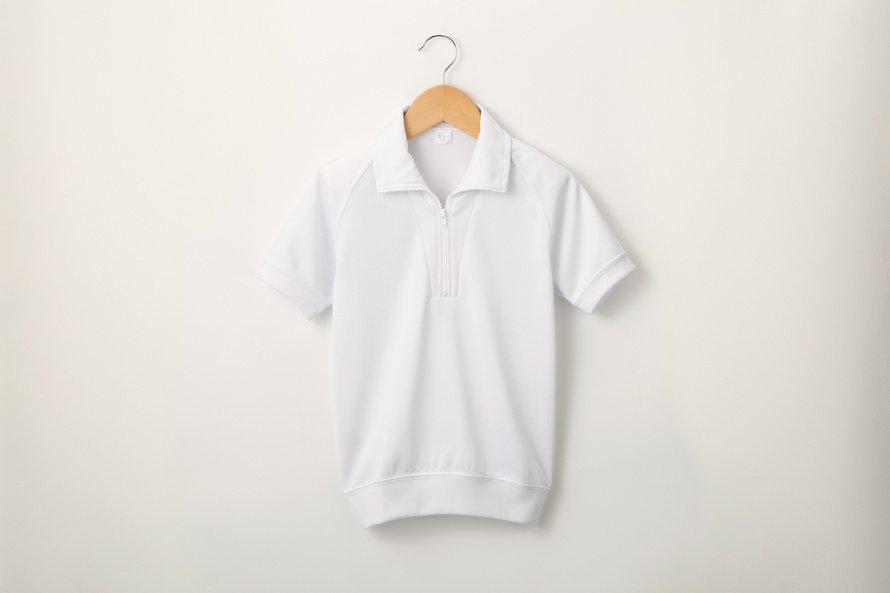 汚れにくい半袖シャツ ジップタイプ