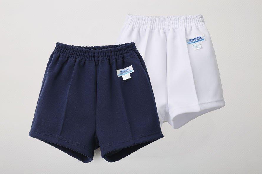 白色 体操服 ズボン パンツ ショート丈[素材]ポリエステル80%|綿20%|