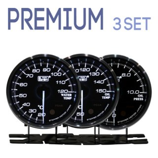 Autogauge オートゲージ<br>PREMIUMシリーズ 60mm<br>3連メーターセット<br>水温計・油温計・油圧計