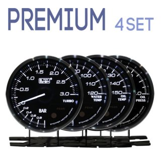 Autogauge オートゲージ<br>PREMIUMシリーズ 60mm<br>4連メーターセット<br>ブースト計・水温計・油温計・油圧計