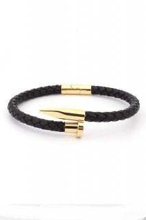 TWISTED NAIL BRACELET-Black/Gold