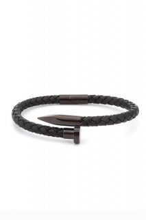 TWISTED NAIL BRACELET-Black/Black