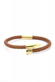 TWISTED NAIL BRACELET-Brown/Gold