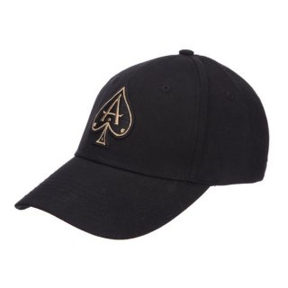 BLACK BASEBALL CAP WITH GOLD ACE
