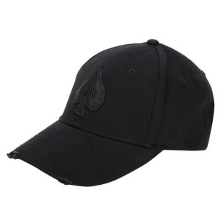 DISTRESSED ALL BLACK BASEBALL CAP