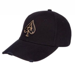 DISTRESSED BLACK BASEBALL CAP WITH GOLD ACE