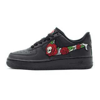 SKULL N' ROSES AIR FORCE 1 Low Black Custom Sneakers