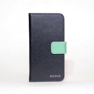 サンプル品「MIRROR my colors - ブラック×グリーン」 | 手帳型iPhone 6/6sケース