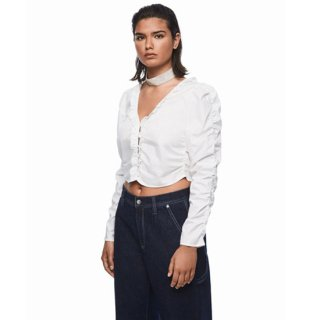 DUA LIPA X PEPE JEANS - Cropped V-neck White Shirt