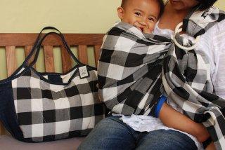 SL-KKH 黒チェックスリング&大きいバッグ