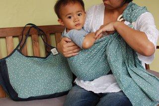 SL-BBA 水玉(グレー)スリング&大きいバッグ