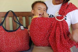 SL-BBR 水玉(赤)スリング&大きいバッグ